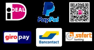 logo's van de betaalmogelijkheden op deze website