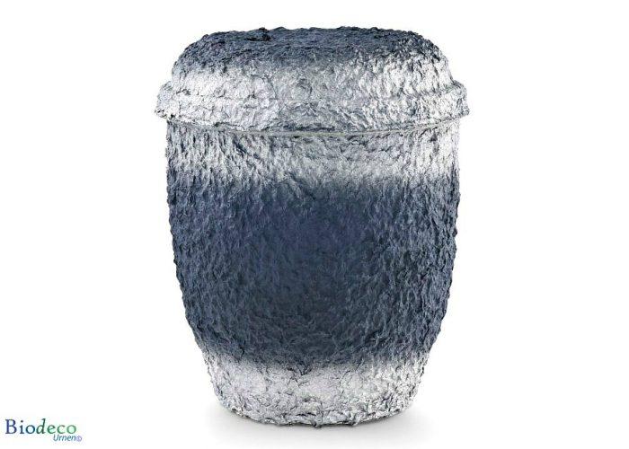 De biologisch afbreekbare zee-urn Marineblauw Zilver, geproduceerd van cellulose, voor een asbijzetting in het water