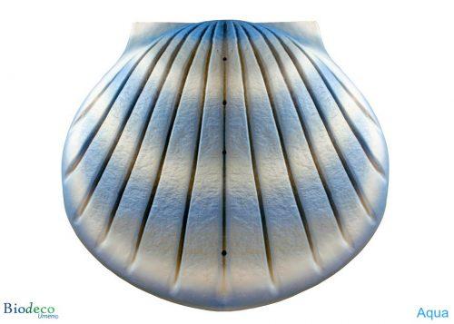 De biologisch afbreekbare zee-urn Schelp, geairbrusht, in de kleur aqua, voor asbijzetting in het water