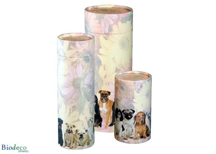 Strooikoker Honden in drie maten. Voor het verstrooien van crematie-as