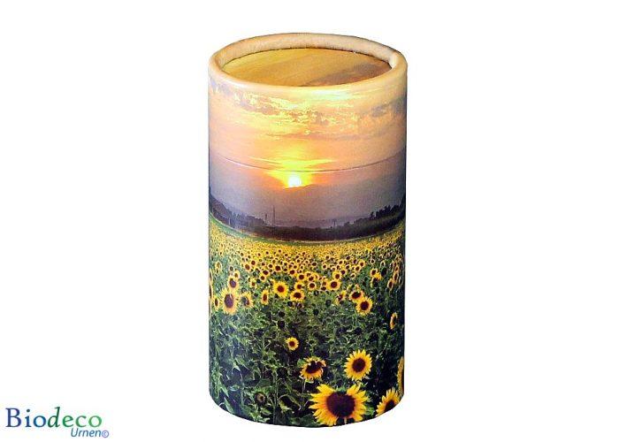 Mini strooikoker Zonnebloemenveld, voor het verstrooien van een kleine hoeveelheid crematie-as