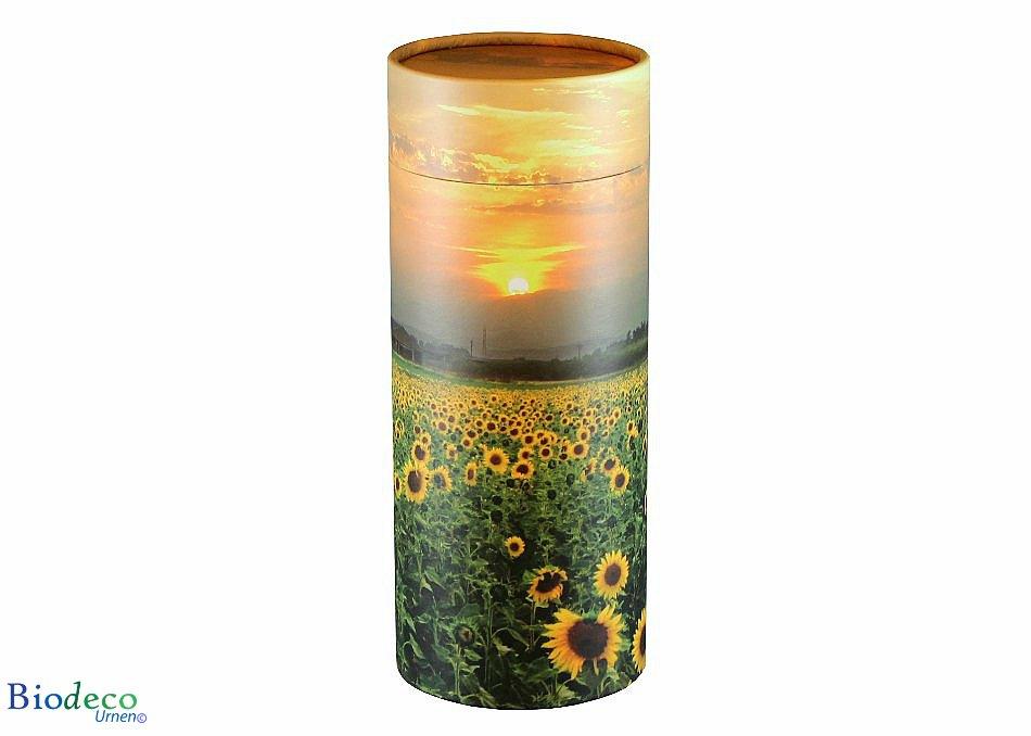 De strooikoker Zonnebloemenveld, maat standaard, voor de crematie-as van een volwassen persoon