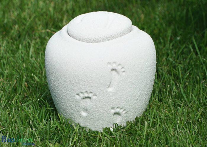 Witte mini zee-urn Ocean Quartz Footprints in het gras