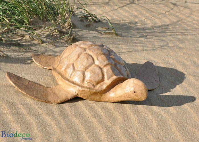 Zee-urn Schildpad, hanndvervaardigd van gerecycled papier