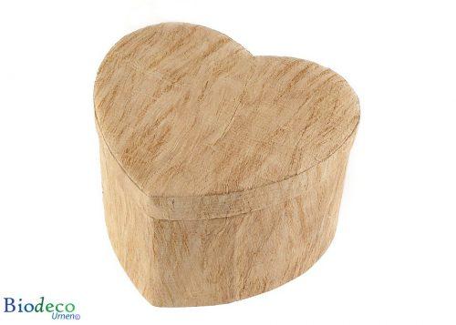 De biologisch afbreekbare Hart-urn Houtstructuur, van schors van de moerbeiboom, voor een asbijzetting in de aarde