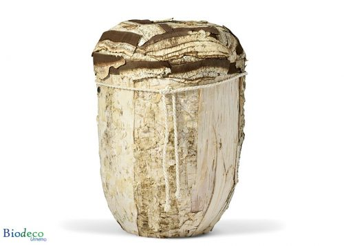 Biologisch afbreekbare urn Berkenschors-urn, handmatig afgewerkt met de schors van de Berk voor een asbijzetting in de aarde