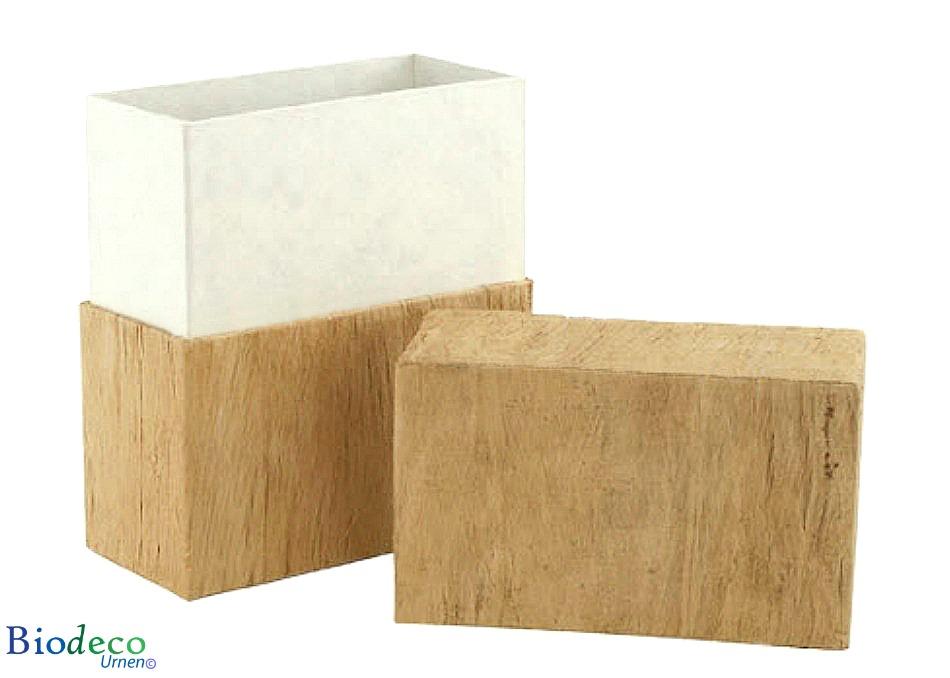 Detail van de biologisch afbreekbare urn Simplicity Houtstructuur, schors van de moerbeiboom, voor een asbijzetting in de aarde