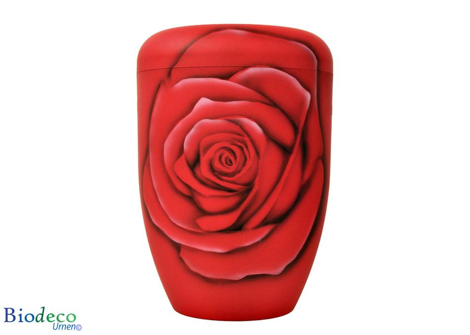 Biologisch afbreekbare urn Roos Diamant, handmatig beschilderd, voor een asbijzetting in de aarde