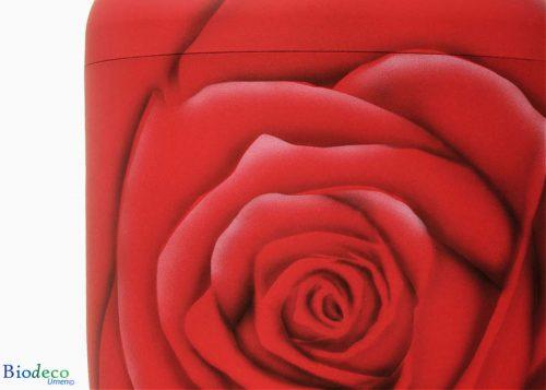 Detail van de biologisch afbreekbare urn Roos Diamant, handmatig beschilderd, voor een asbijzetting in de aarde